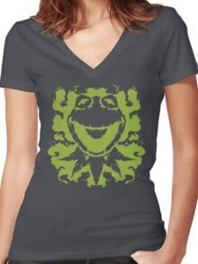 It's Not Easy Being Inked (green) Women's Fitted V-Neck T-Shirt