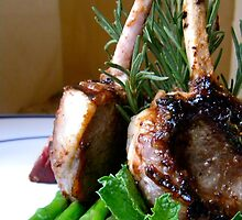 Lamb w Mint Asparagus and Balsamic Fig Reduction by crystalmraymond