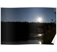 Lakeside Moonlight Poster