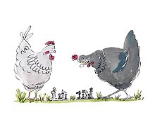 Chess playing chickens by Karen Erasmus