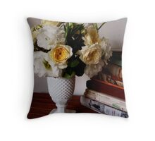Favorite Things - Flowers and books Throw Pillow