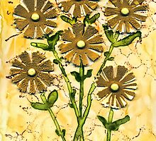 Daisies On Yupo Watercolor Paper  by Sandra Foster
