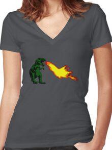 Dinosaur - Green Women's Fitted V-Neck T-Shirt