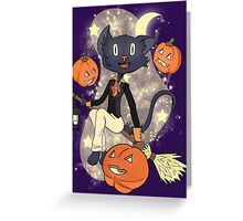 Halloween Cat On A Broomstick Greeting Card