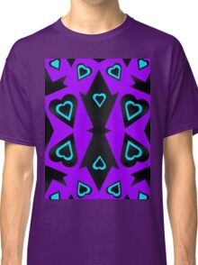 Hearts in Black Turquoise and Purple Var 4 Classic T-Shirt