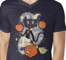 Halloween Cat On A Broomstick Mens V-Neck T-Shirt