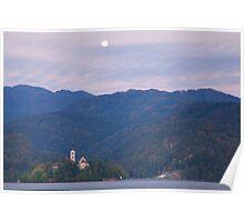 Moon setting at sunrise Lake Bled Poster