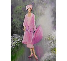VINTAGE LADY IN THE RAIN Photographic Print