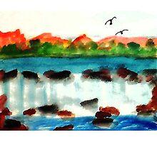 Big waterfall, watercolor Photographic Print