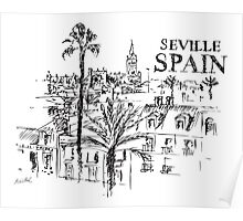 Panorama of the Giralda cathedral in Seville, Spain. Poster