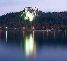 Lake Bled castle at dawn by Ian Middleton