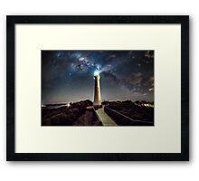 Split Point Lighthouse Beams Framed Print