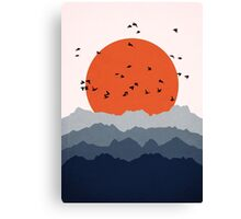 Abstract Mountain Birds Canvas Print