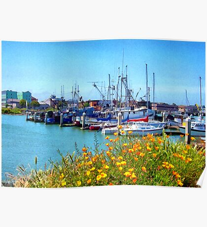 Boat Docks in Humboldt Bay Poster