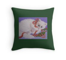 Mischievous Kitty Throw Pillow