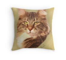 Maine Coon Cat Painting Throw Pillow
