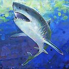 Great white shark painting - 2012 by Gwenn Seemel