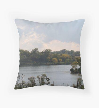 Autumn Along the Water Throw Pillow