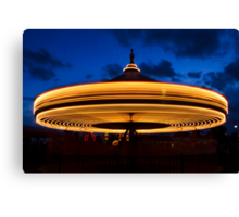 Carousel Spinning at Twilight Canvas Print