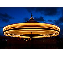 Carousel Spinning at Twilight Photographic Print