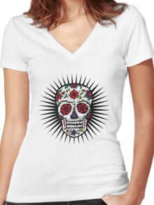 Sugar Skull two Women's Fitted V-Neck T-Shirt