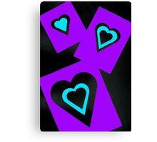 Hearts in Black Turquoise and Purple Var 4 Alternate Options Canvas Print