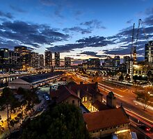 Flinders St Light Trails by Russell Charters