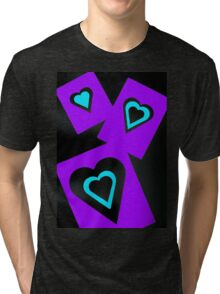 Hearts in Black Turquoise and Purple Var 4 Alternate Options Tri-blend T-Shirt