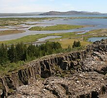 Tectonic plate boundaries of the Mid-Atlantic Ridge in Thingellir National Park at Parliament, Iceland by Grace Johnson