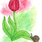 Watercolor Pink Tulip by ThimbleSparrow
