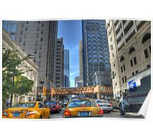 Chicago Rush Hour Traffic Cabs Poster