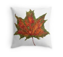 Watercolor Maple Autumn Leaf Throw Pillow