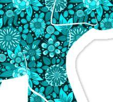 Retro Flowers Cute Turquoise Blue Elephant Sticker