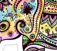 Cute Colorful Retro Flowers Elephant Illustration Sticker