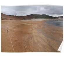 Lava fields, Lamorscad. Hverir mud flats. Iceland Poster