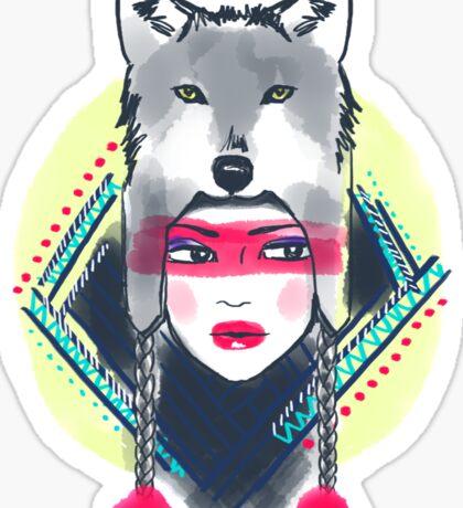 Girl with wolf hat Sticker