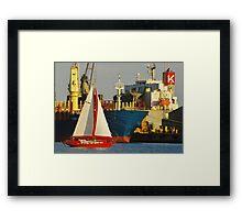 Red Boat At Night Framed Print