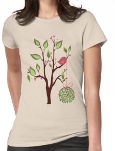 Bird with Mistletoe Womens Fitted T-Shirt