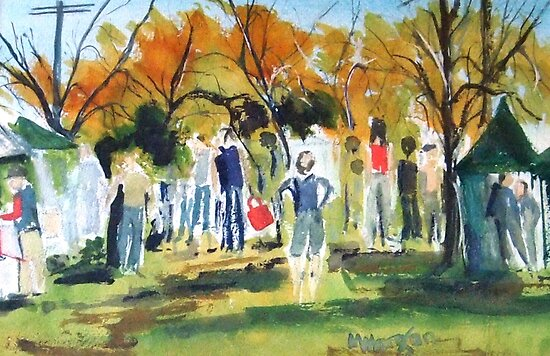 Strolling through the Lancefield Market Victoria Australia by Margaret Morgan (Watkins)