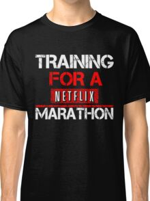 TRAINING FOR A NETFLIX MARATHON - Saiyan Style Black Classic T-Shirt