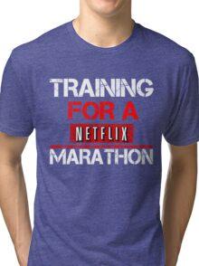 TRAINING FOR A NETFLIX MARATHON - Saiyan Style Black Tri-blend T-Shirt