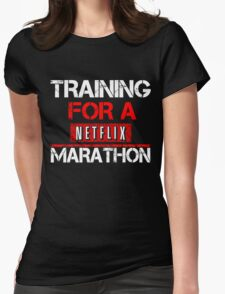 TRAINING FOR A NETFLIX MARATHON - Saiyan Style Black Womens Fitted T-Shirt