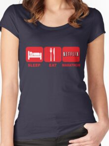 EAT SLEEP MARATHON - NETFLIX Women's Fitted Scoop T-Shirt