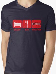 EAT SLEEP MARATHON - NETFLIX Mens V-Neck T-Shirt