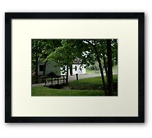 Farmhouse and Footbridge Framed Print