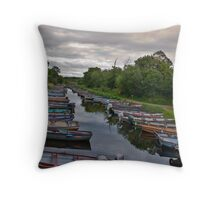 boat river journey Throw Pillow