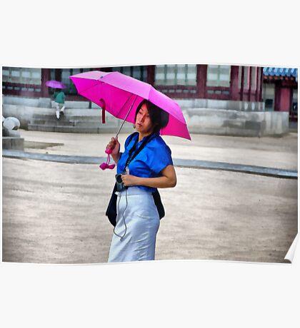 Korean Woman in the Rain Poster