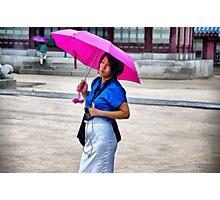 Korean Woman in the Rain Photographic Print