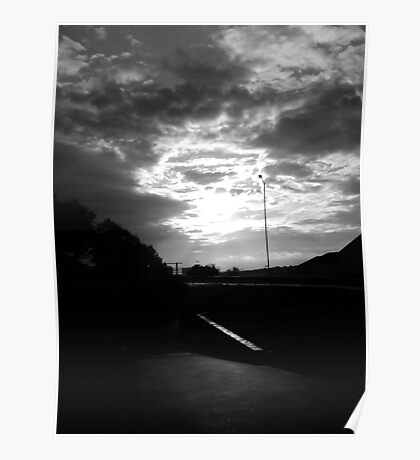 Threatening Sky, sun bursting through Poster