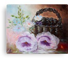 Basket with Poppys Canvas Print
